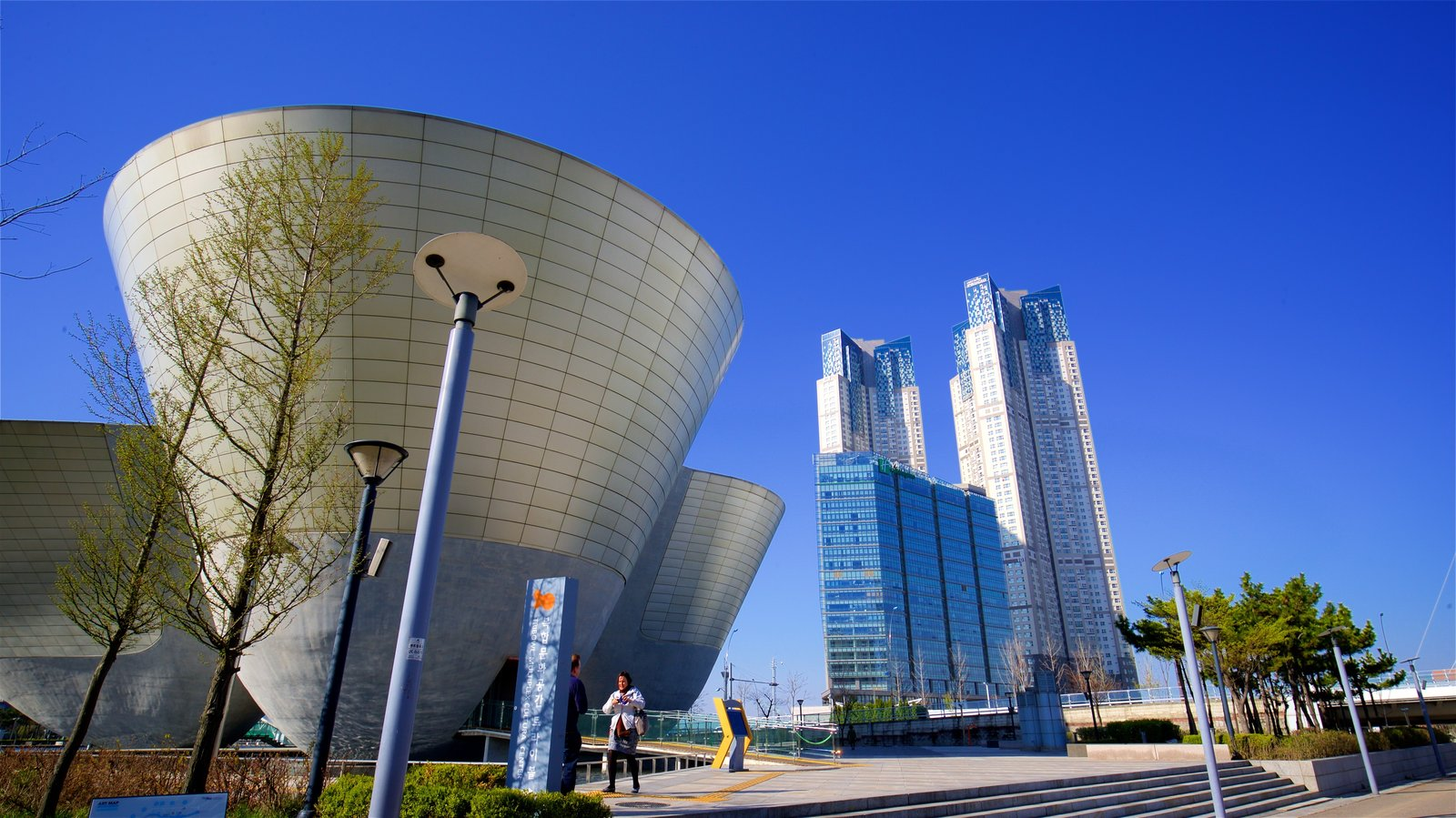 Incheon showing a garden, a skyscraper and modern architecture