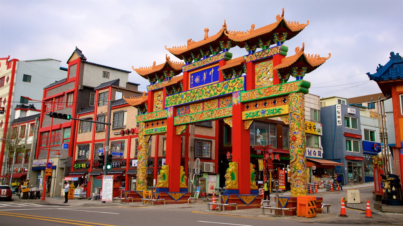 Chinatown showing signage and heritage elements