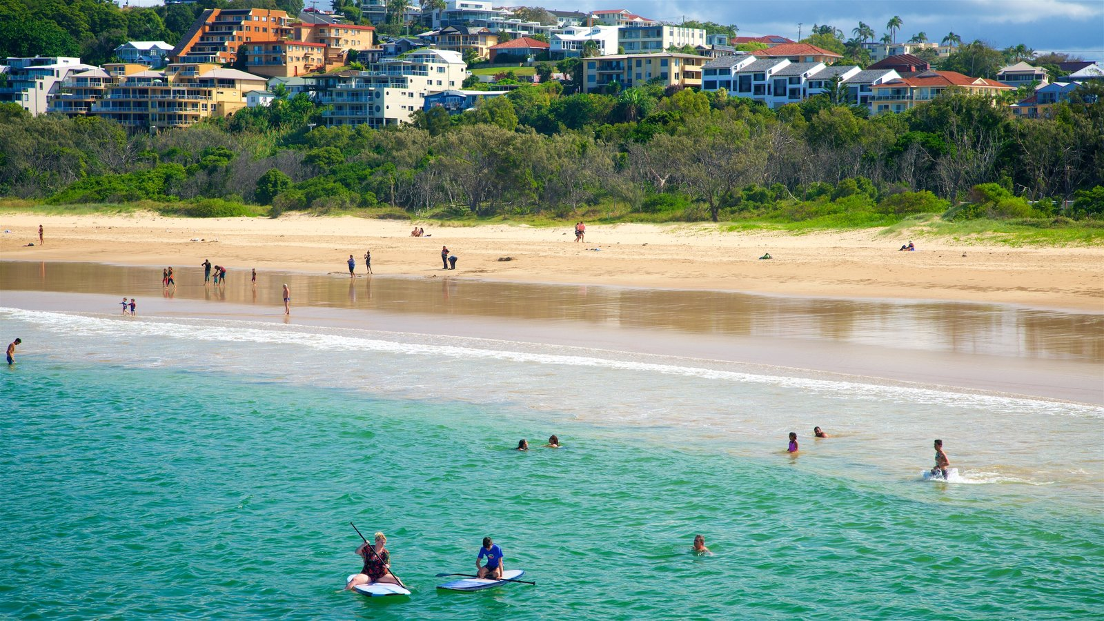 Coffs Harbour showing a sandy beach, swimming and a coastal town