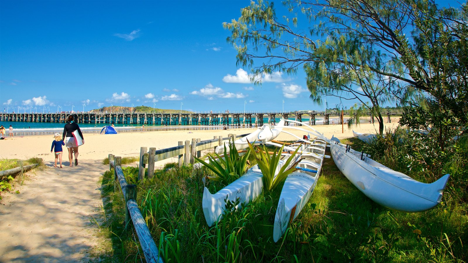 Coffs Harbour featuring a beach and general coastal views as well as a family