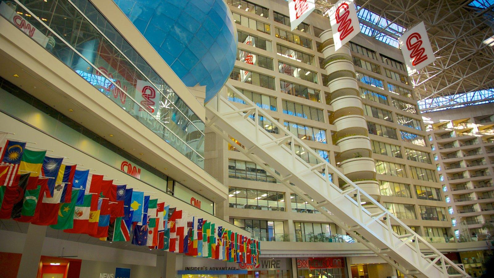 Atlanta que inclui paisagens da cidade, arquitetura moderna e uma cidade