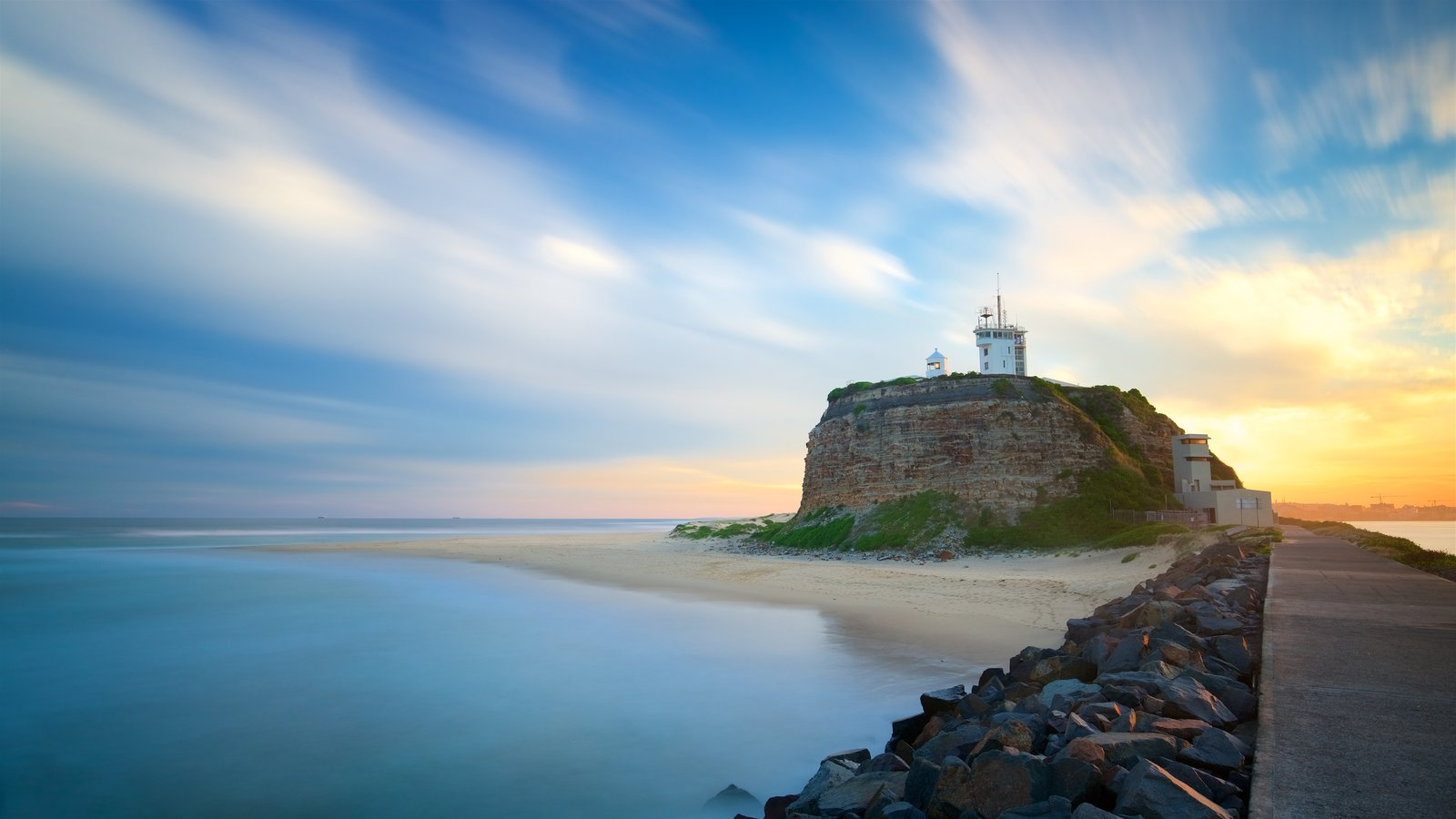 New South Wales featuring a lighthouse, general coastal views and a sunset