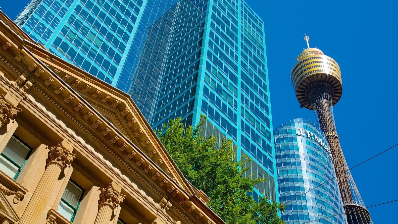 Sydney Tower que inclui um arranha-céu, arquitetura moderna e arquitetura de patrimônio