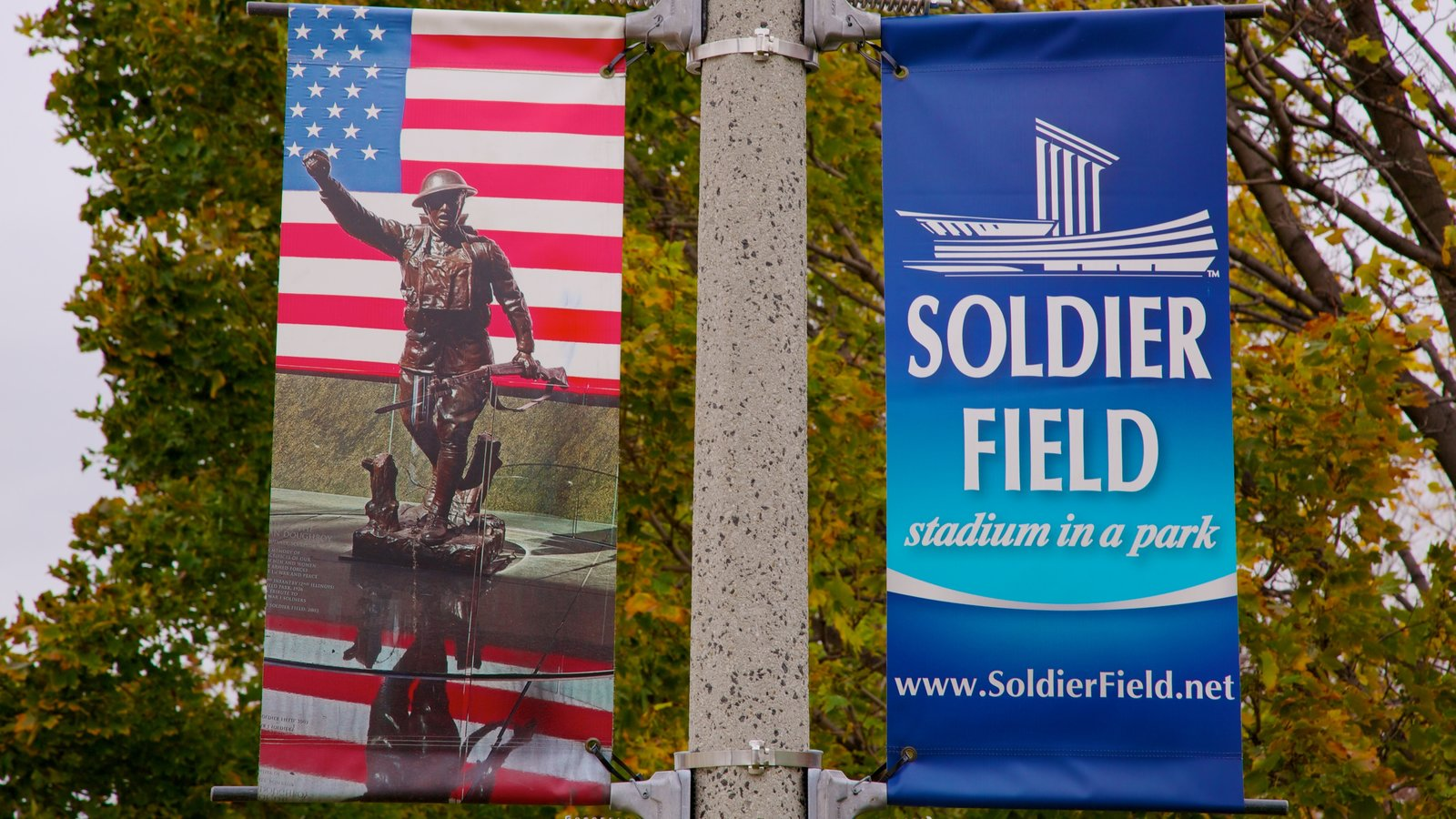 Soldier Field which includes signage, military items and a memorial