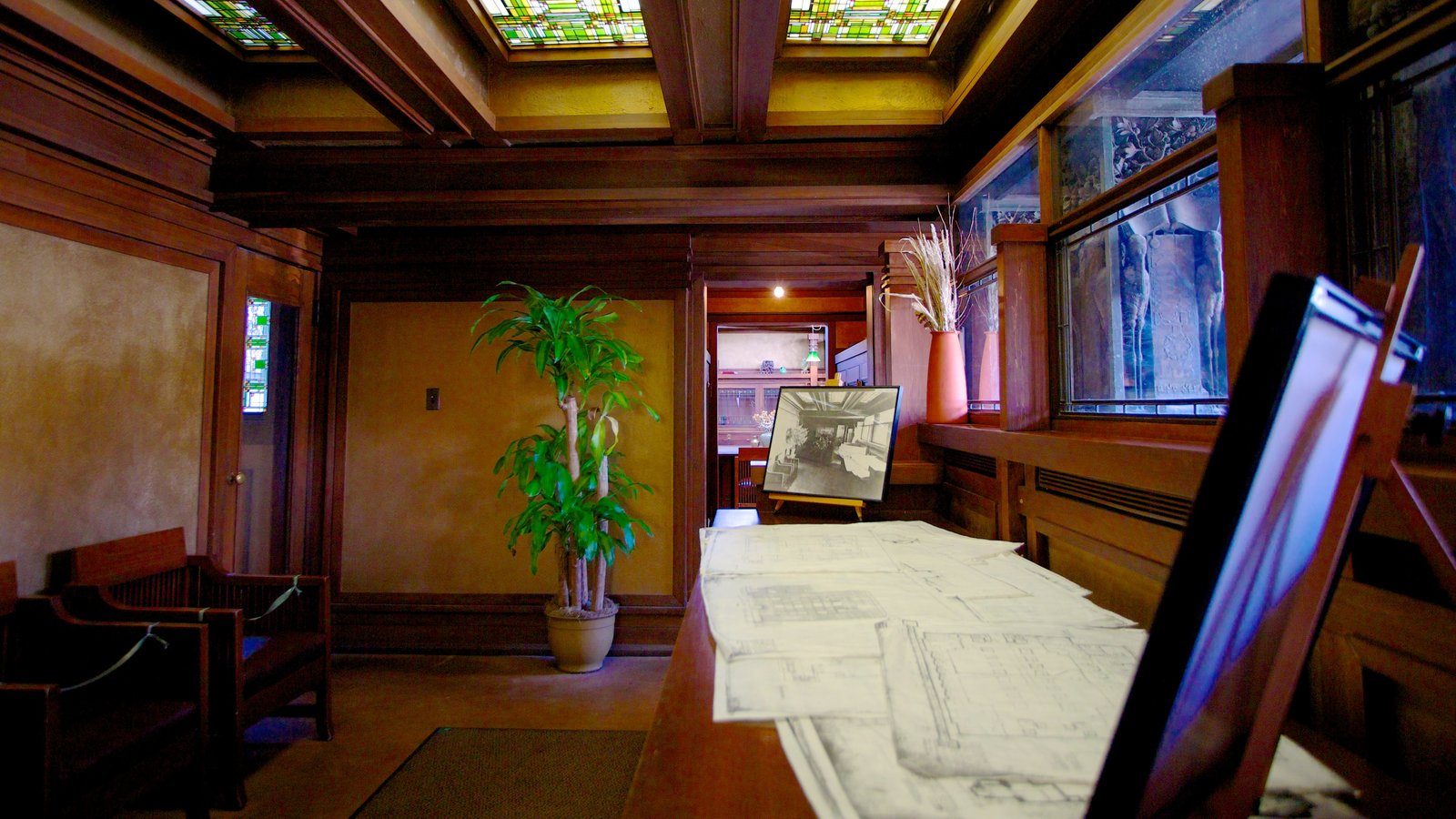 Frank Lloyd Wright Home and Studio which includes interior views