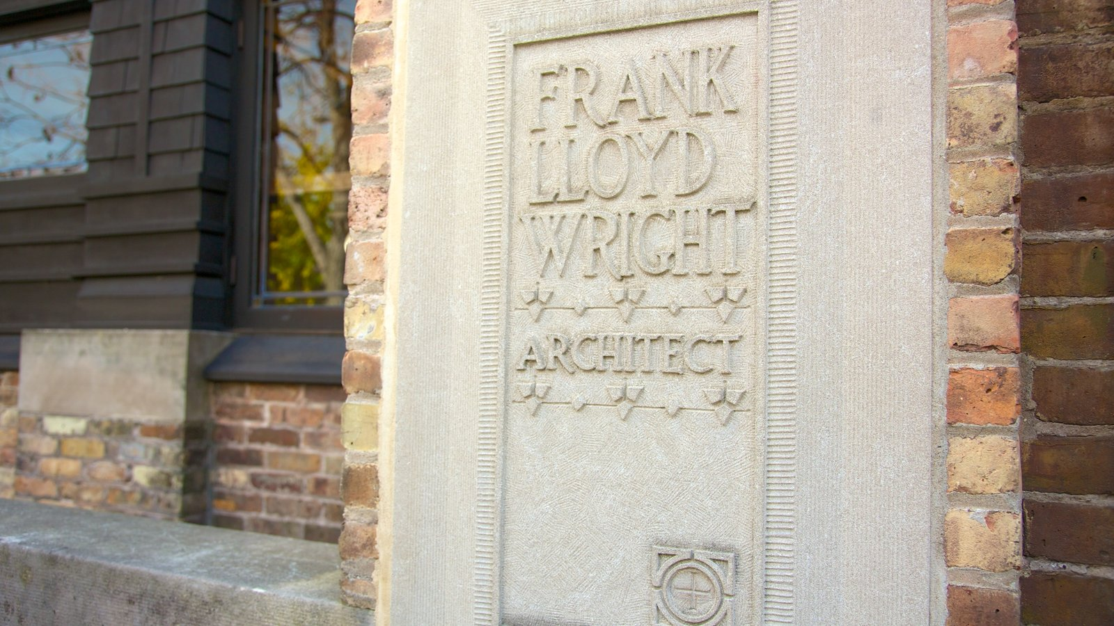 Frank Lloyd Wright Home and Studio which includes heritage architecture and signage