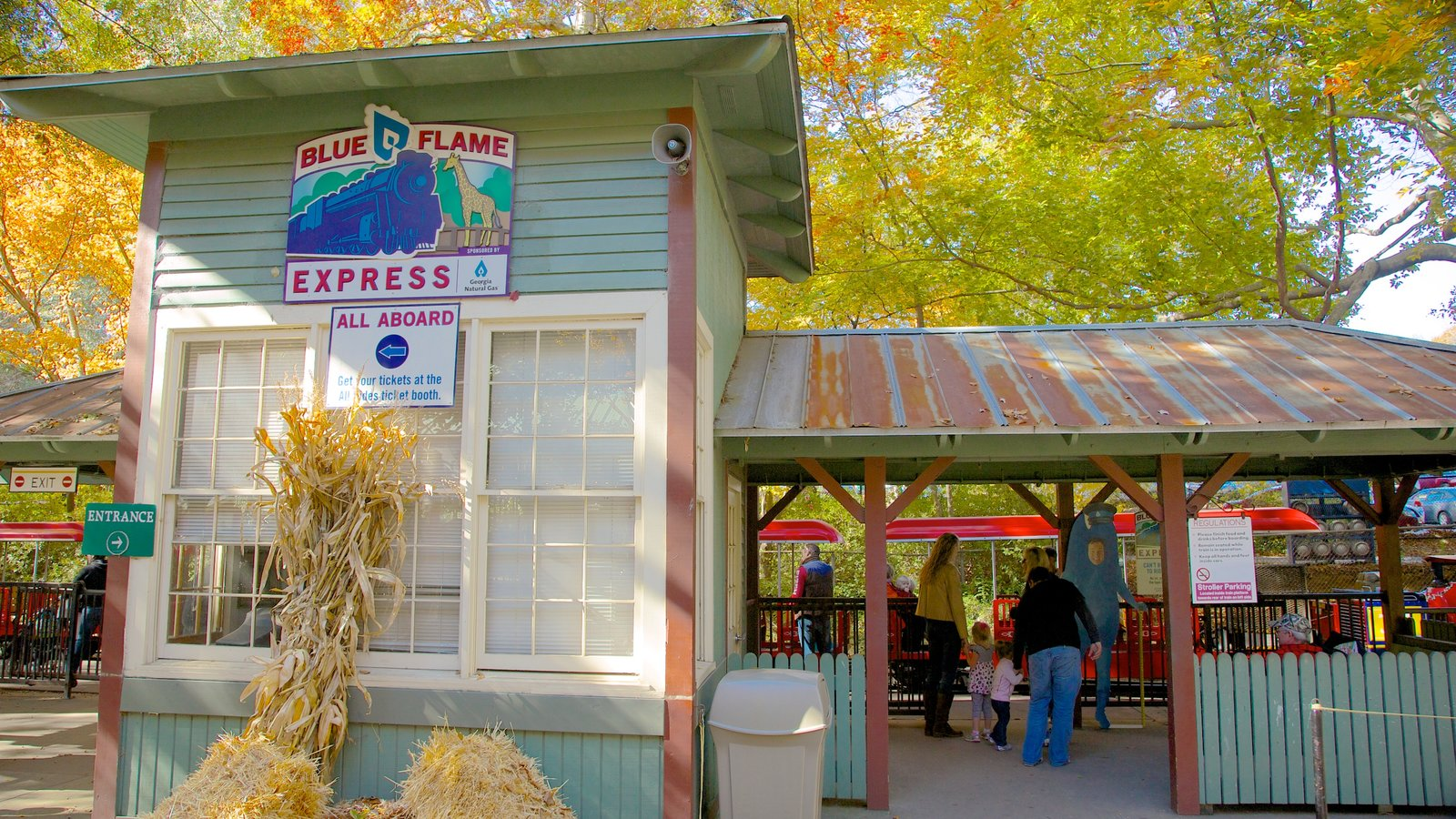 Zoo Atlanta featuring signage, zoo animals and autumn leaves
