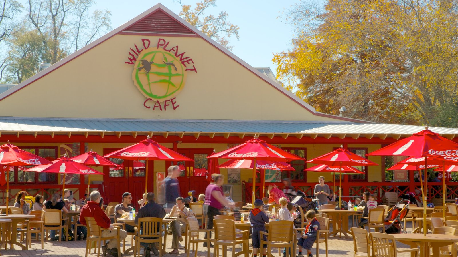 Zoo Atlanta featuring fall colors, zoo animals and signage