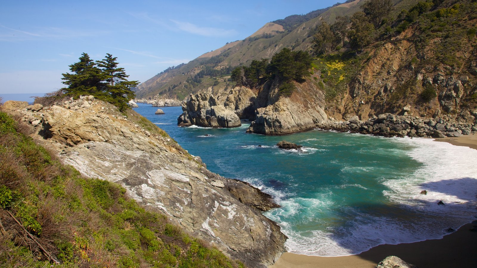 Pfeiffer Big Sur State Park featuring landscape views, rugged coastline and a river or creek