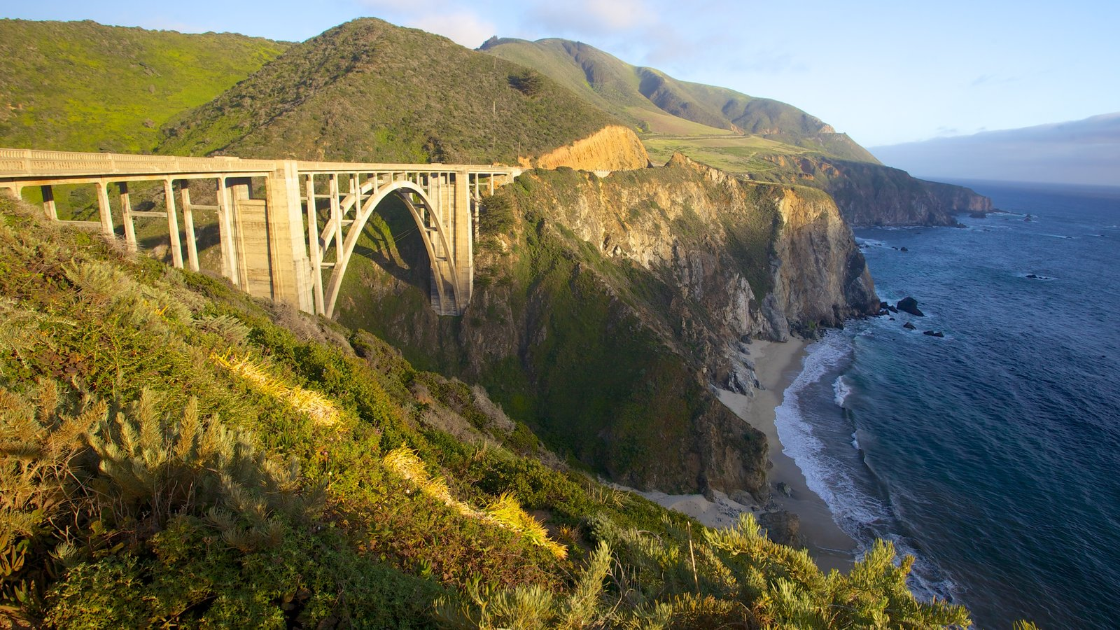 Pfeiffer Big Sur State Park featuring a bridge, views and rugged coastline