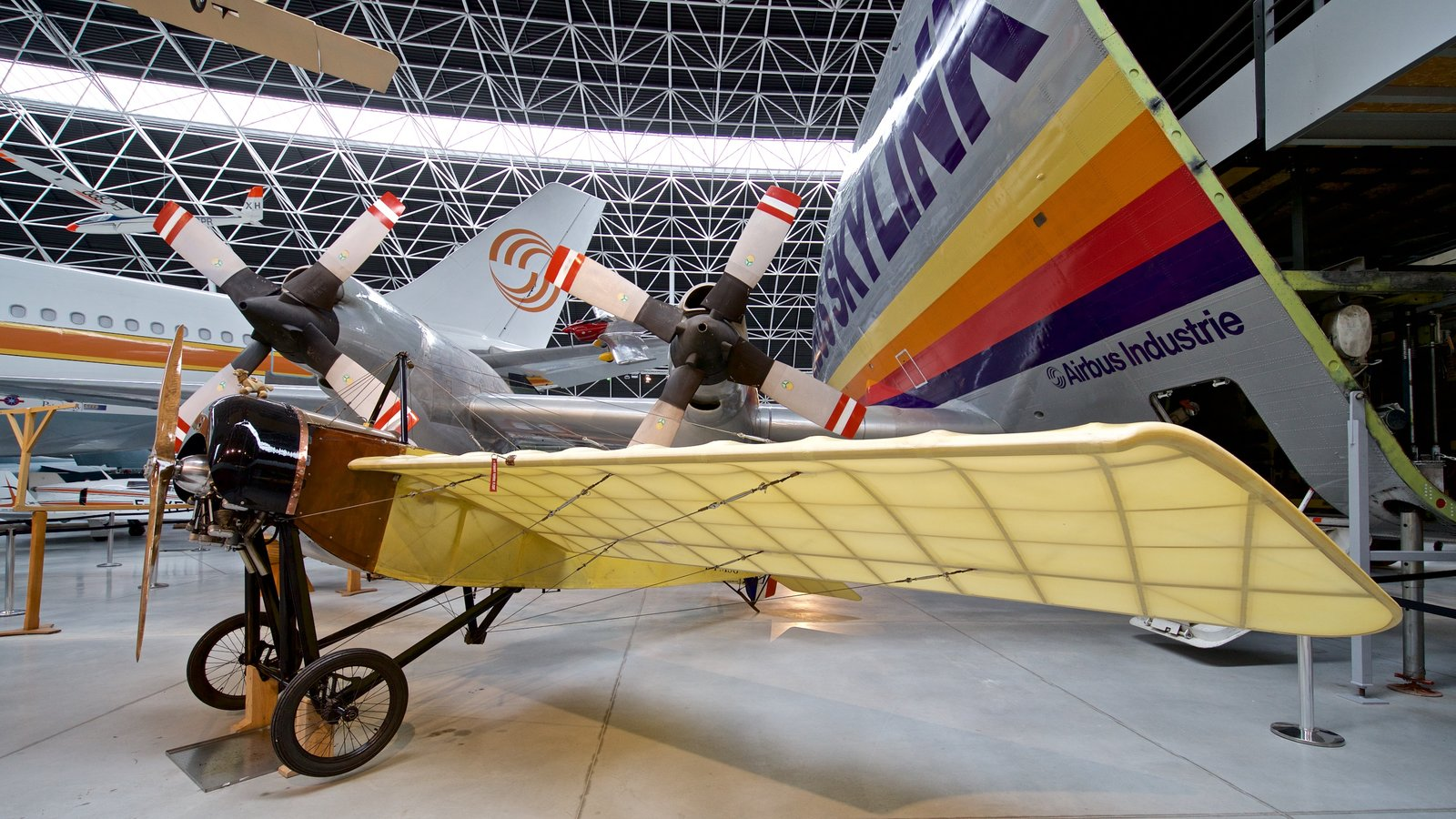 Airbus showing interior views and aircraft