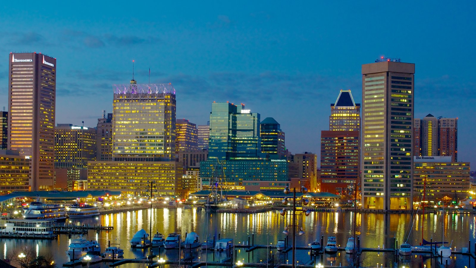 Baltimore Inner Harbor Marina featuring a marina, central business district and boating