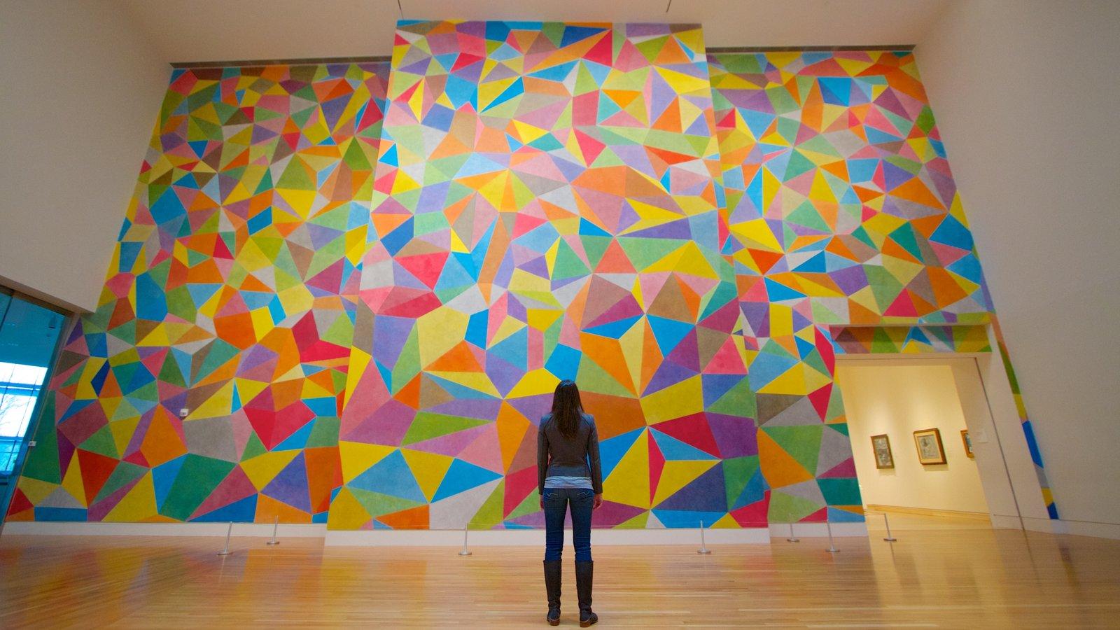 Indianapolis Museum of Art ofreciendo vistas interiores y también una mujer