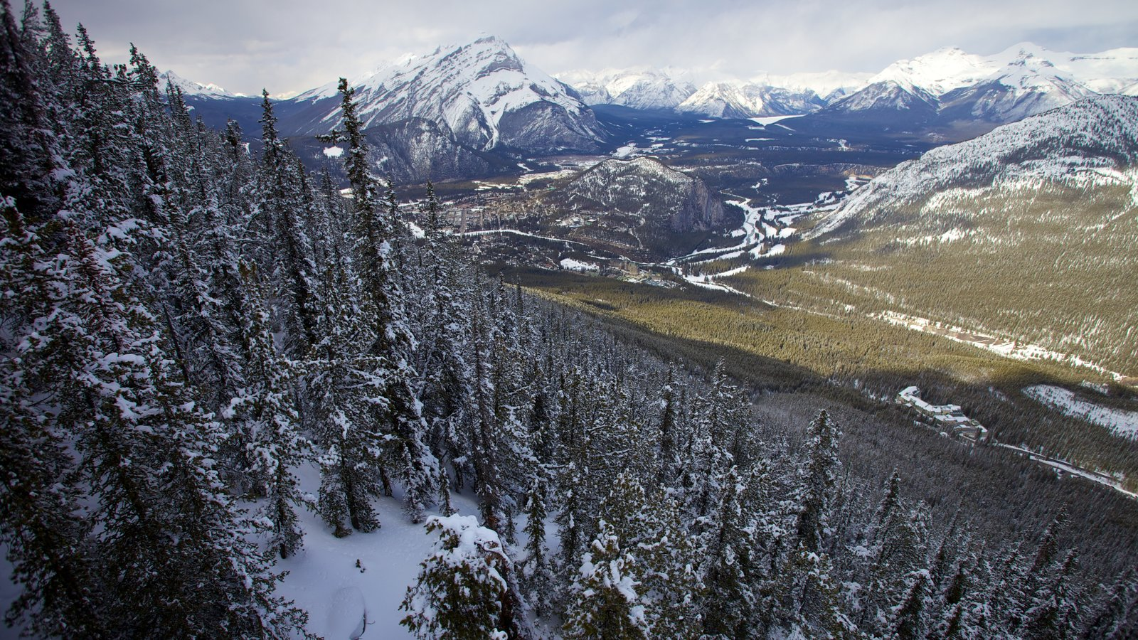 Banff Gondola showing landscape views, snow and mountains