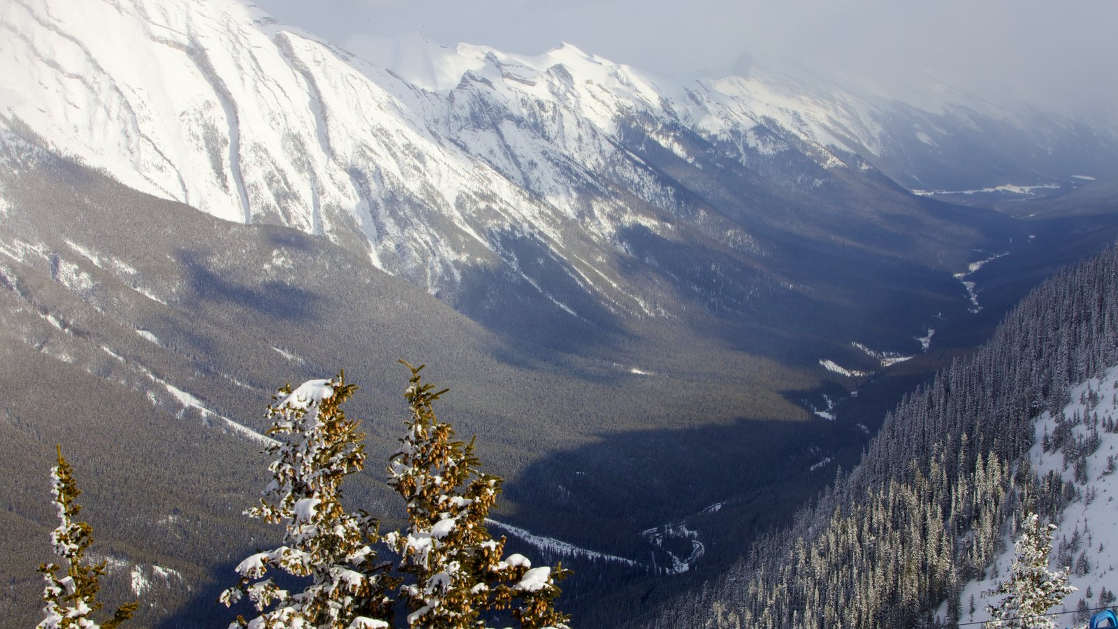 Banff Gondola showing mountains, snow and landscape views