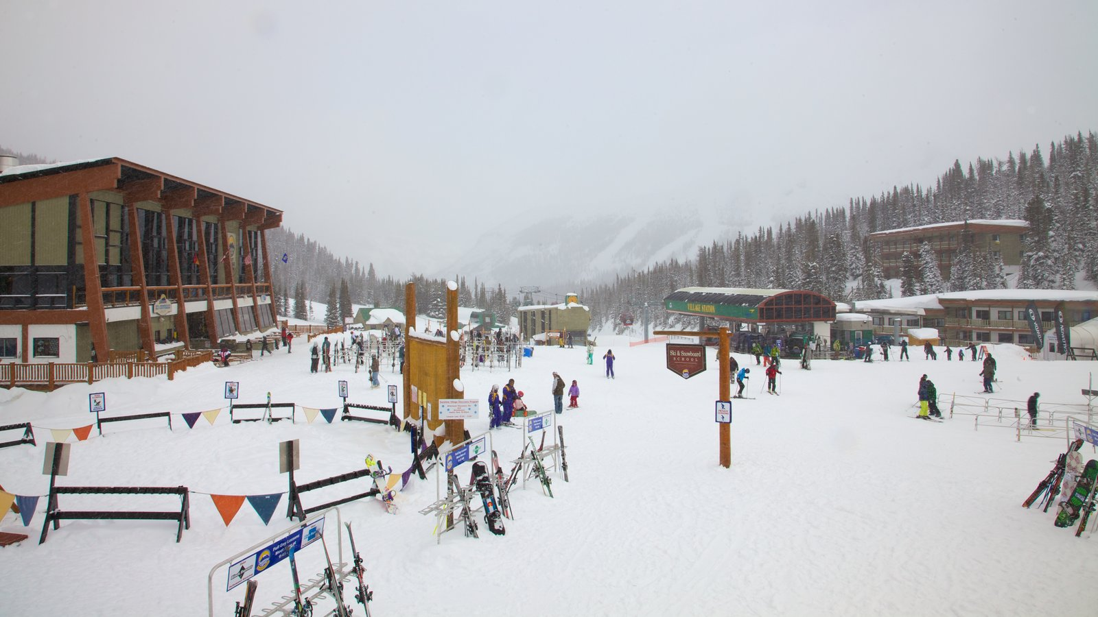 Sunshine Village which includes mountains, a small town or village and a sporting event