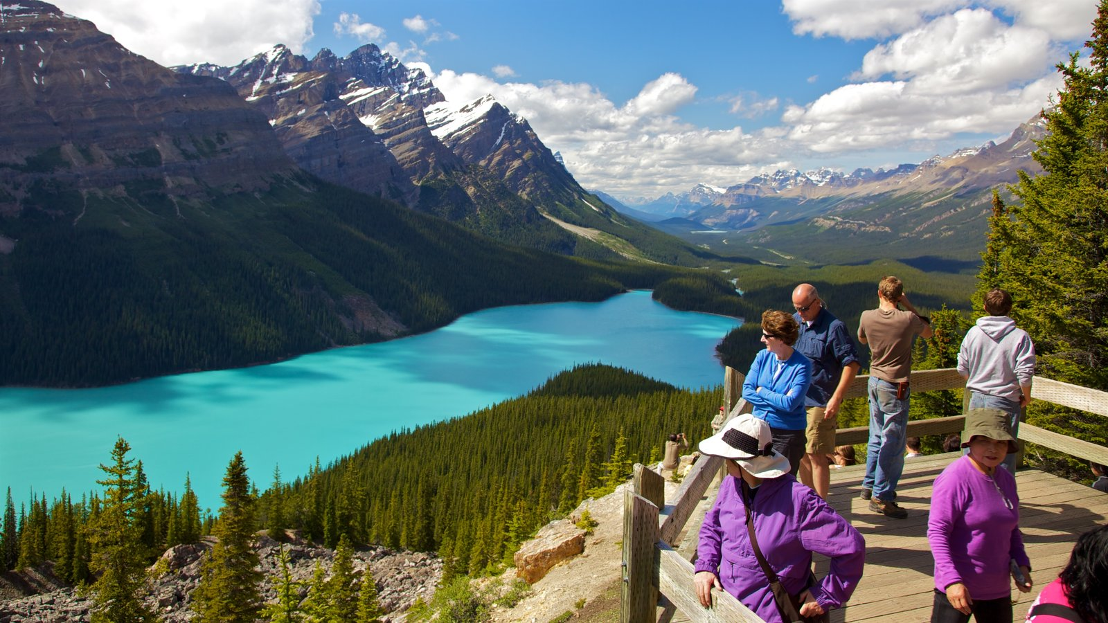 Peyto Lake which includes views, a lake or waterhole and mountains