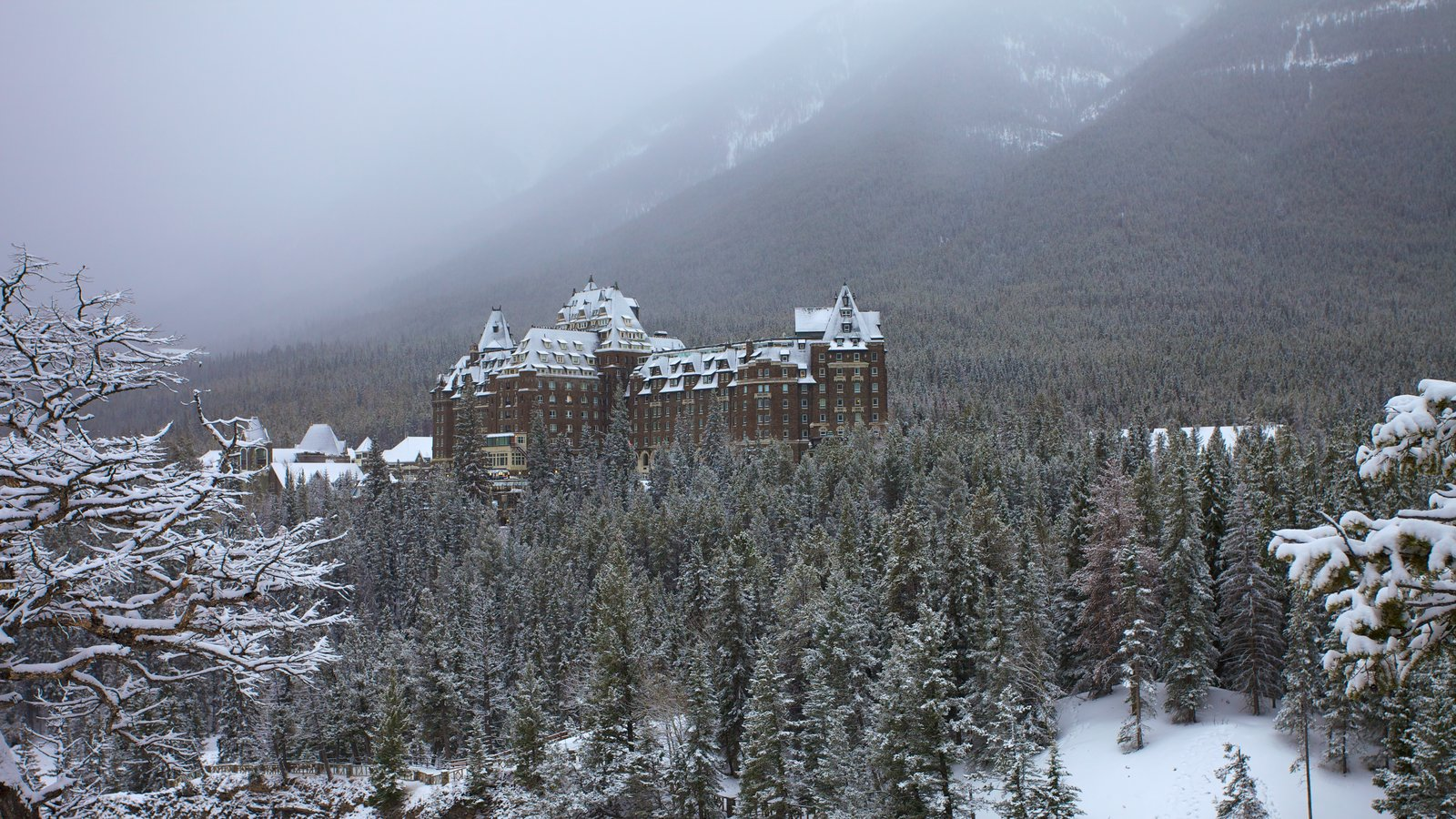 Banff National Park which includes landscape views, snow and mist or fog