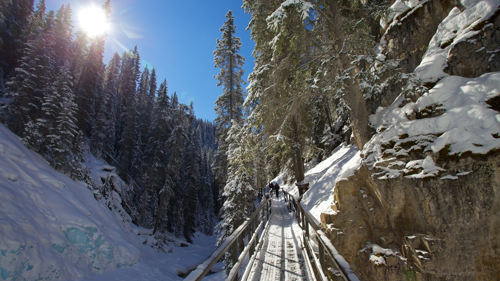Johnston Canyon which includes hiking or walking, a bridge and snow