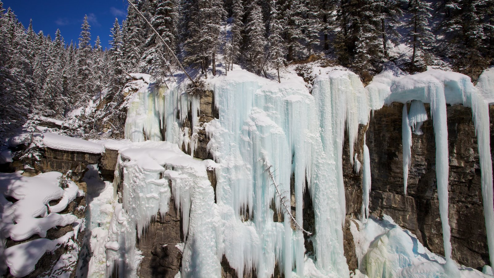 Johnston Canyon which includes snow, mountains and landscape views