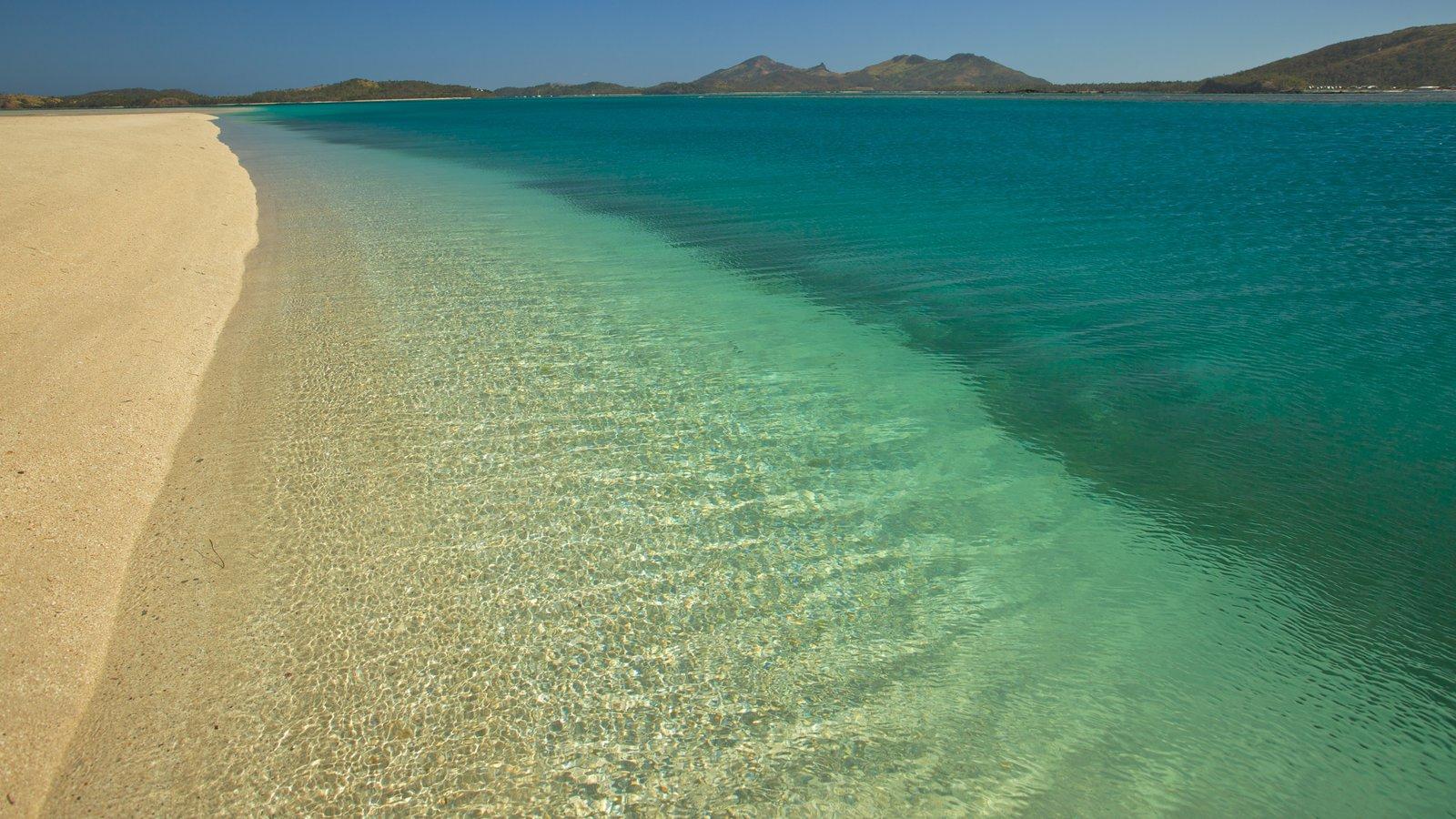 Ilha Nacula mostrando paisagem, cenas tropicais e uma praia