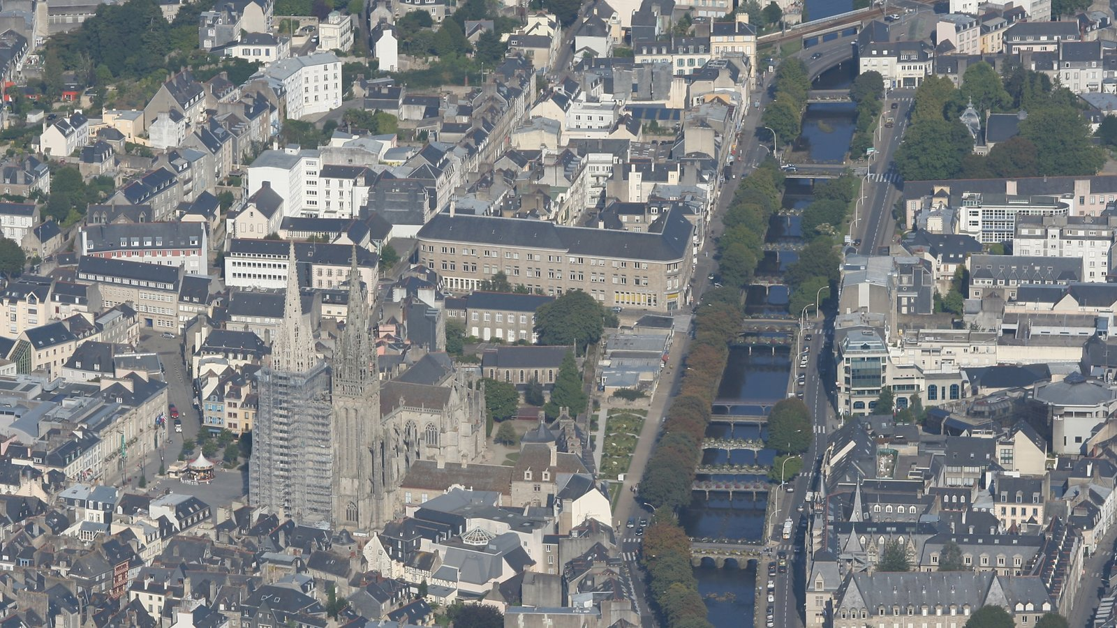 Quimper - Southern Finistere showing a bridge, a city and a bay or harbor