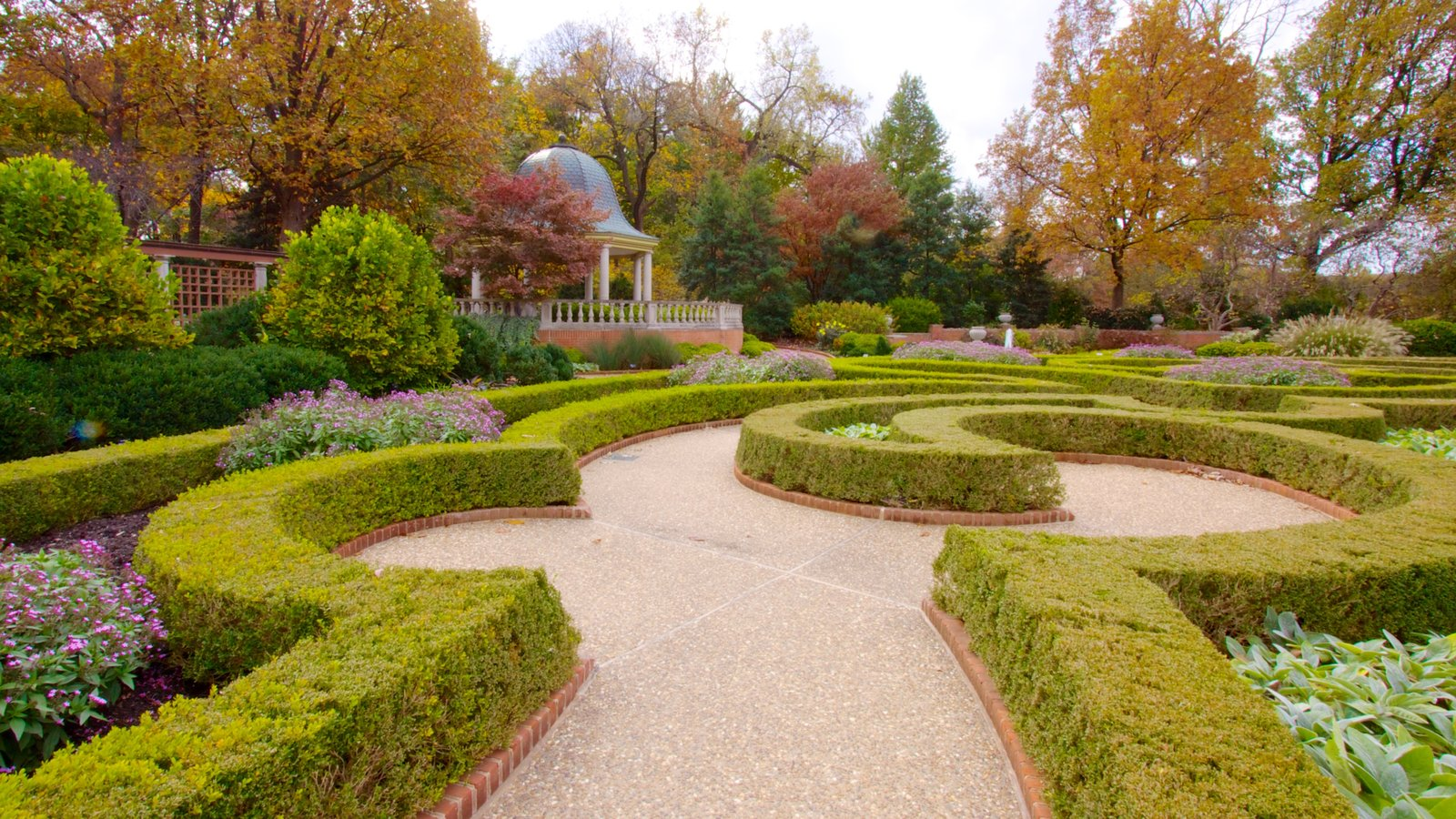 Missouri Botanical Gardens and Arboretum featuring a garden, fall colors and landscape views