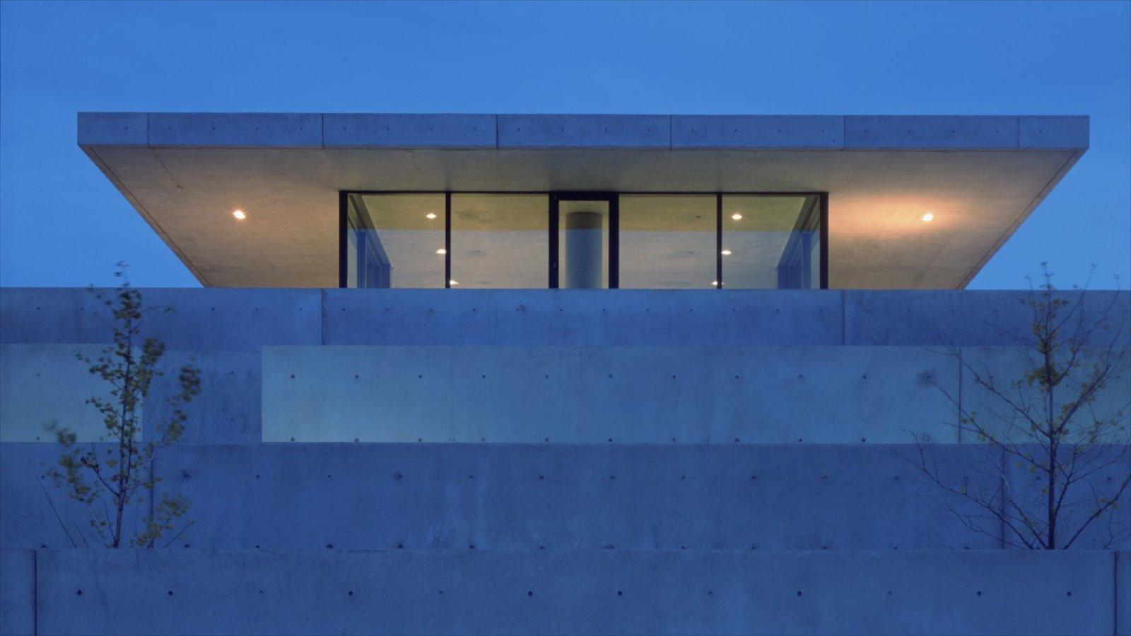 Pulitzer Foundation for the Arts mostrando arte, arquitetura moderna e cenas noturnas