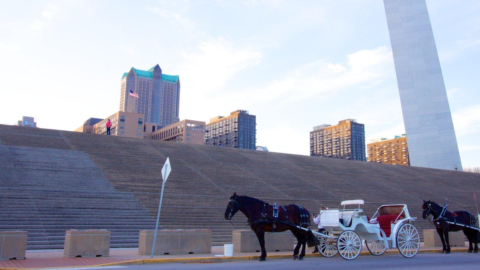 Gateway Arch mostrando arquitetura moderna, um monumento e uma cidade