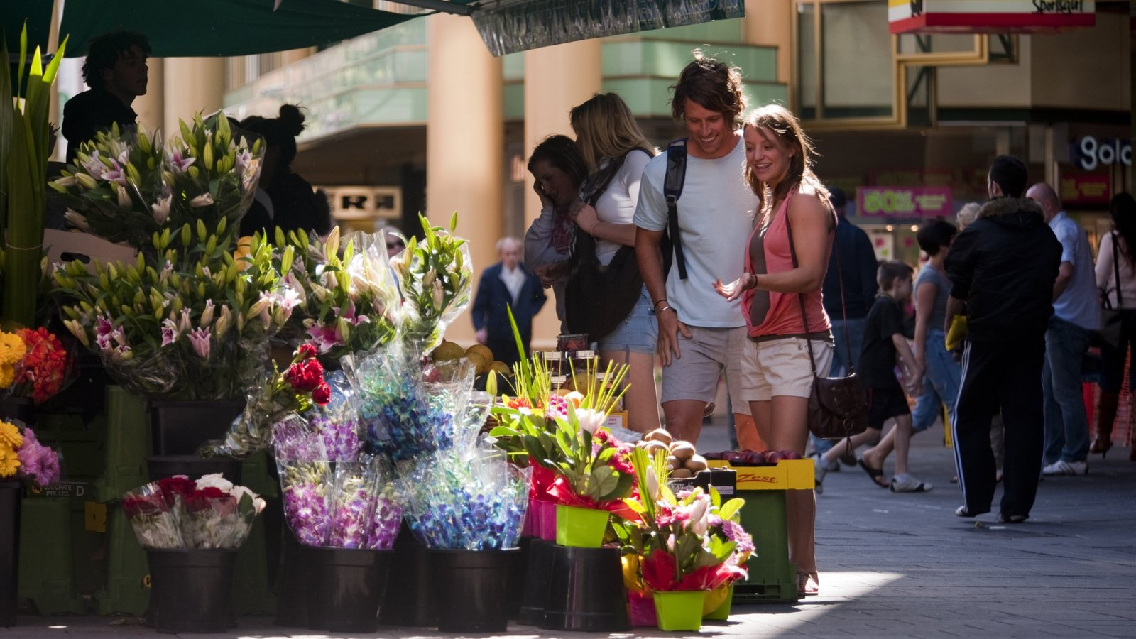 Rundle Mall which includes flowers as well as a couple