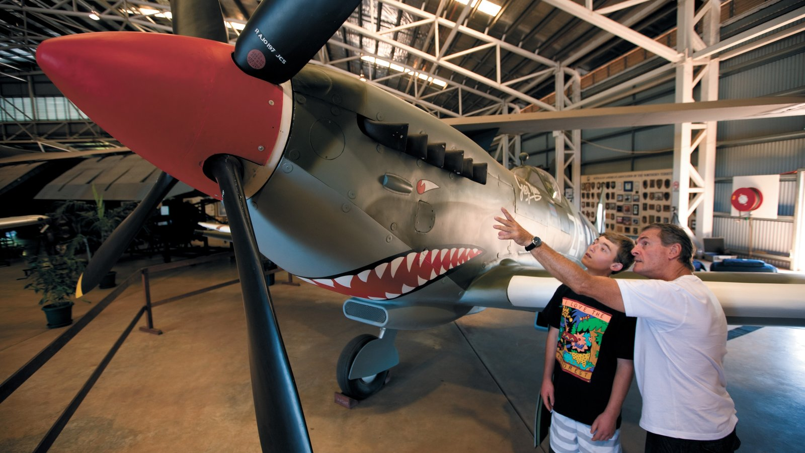 Australian Aviation Heritage Centre which includes interior views and aircraft as well as a family