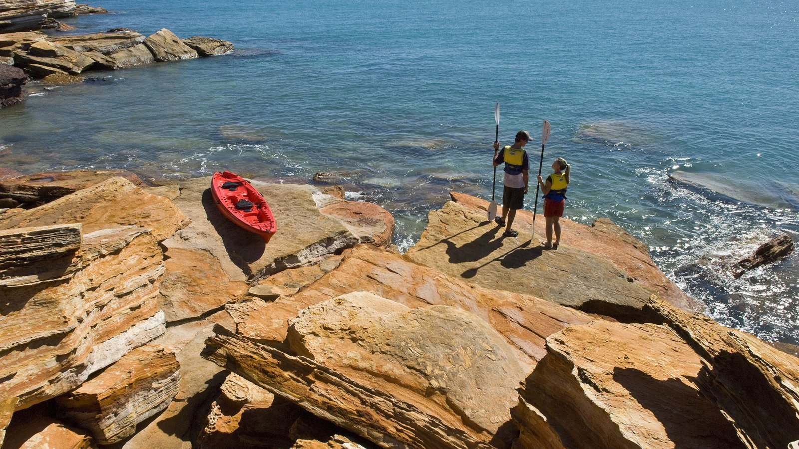 Broome featuring rugged coastline and kayaking or canoeing as well as a couple