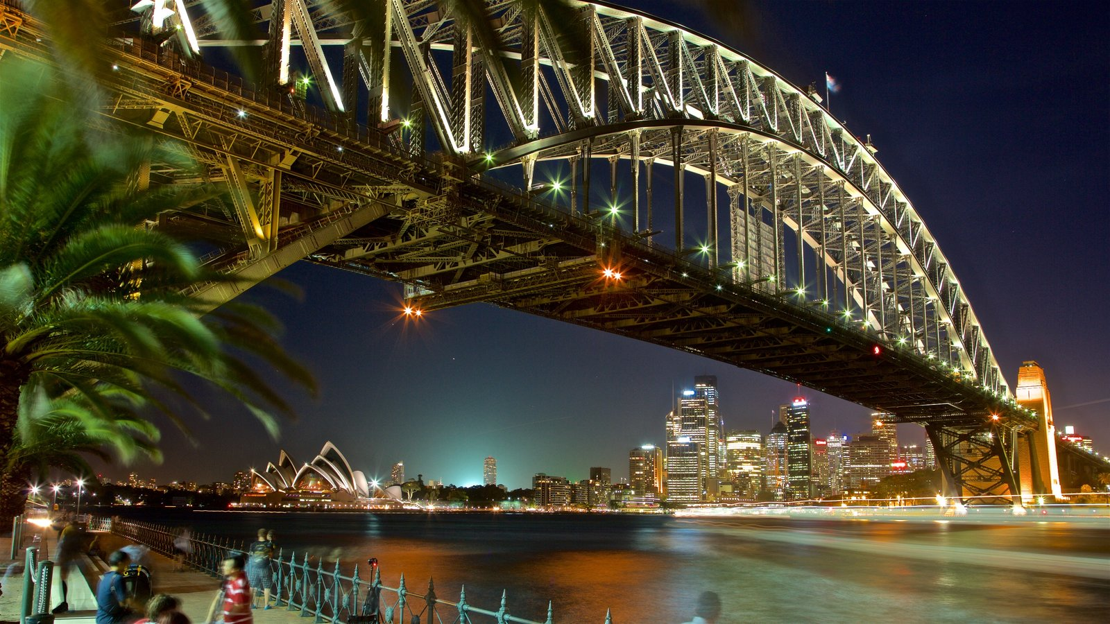 Sydney Harbour Bridge featuring night scenes, a city and a river or creek
