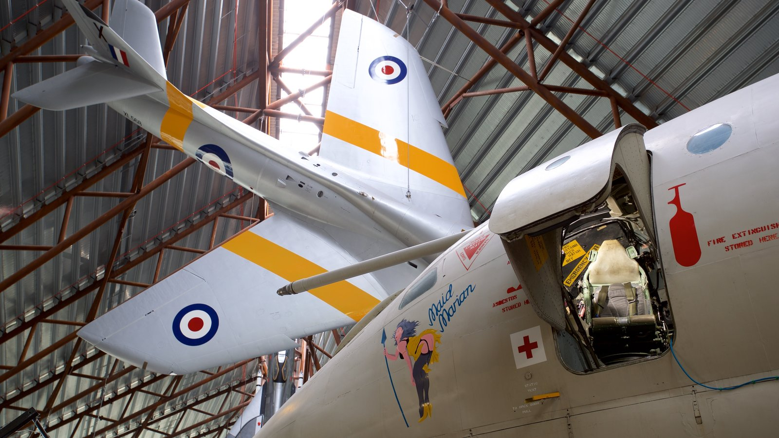 Cosford Royal Air Force Museum showing aircraft, interior views and heritage elements
