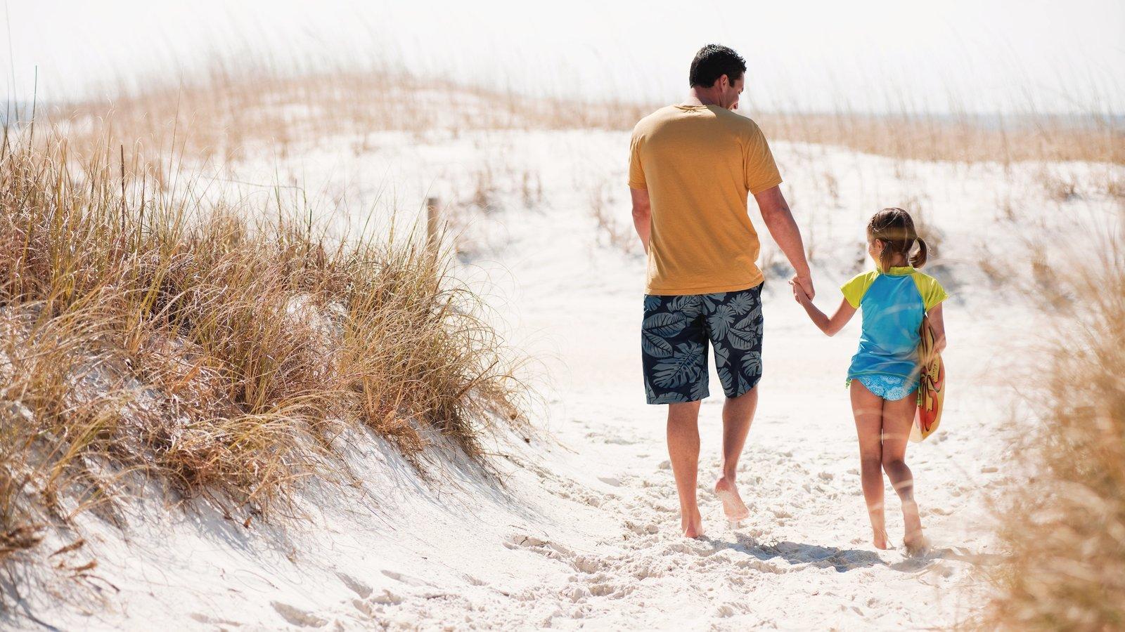 Panama City Beach mostrando uma praia assim como uma família
