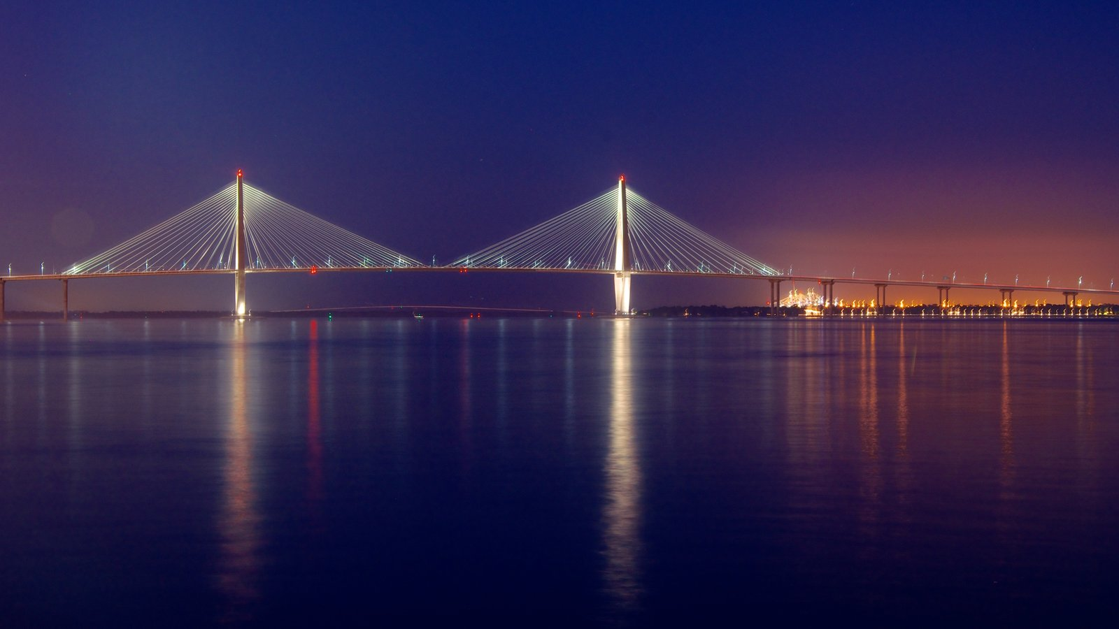 Charleston Waterfront Park showing night scenes