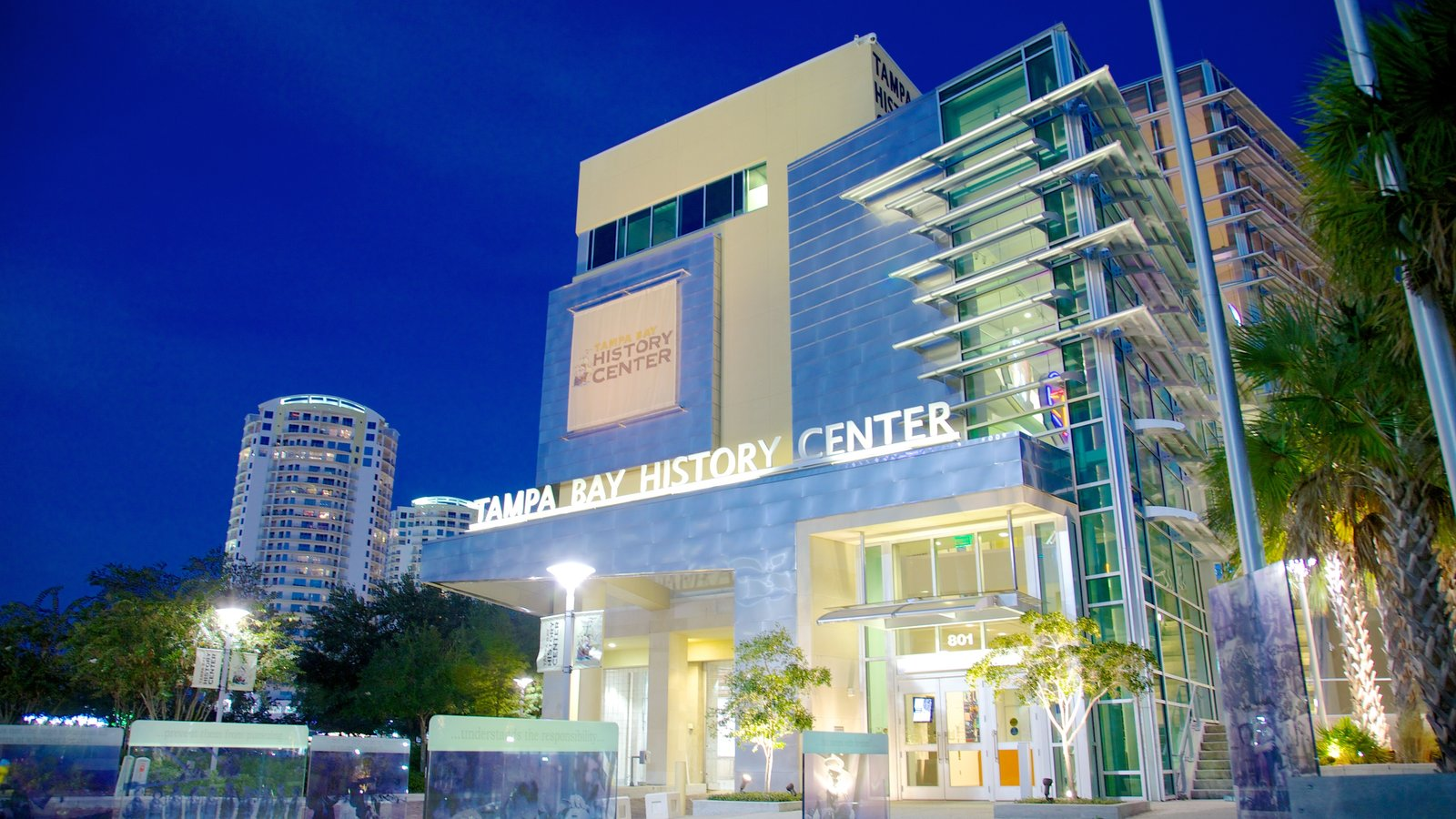 Tampa Bay History Center which includes a city and night scenes
