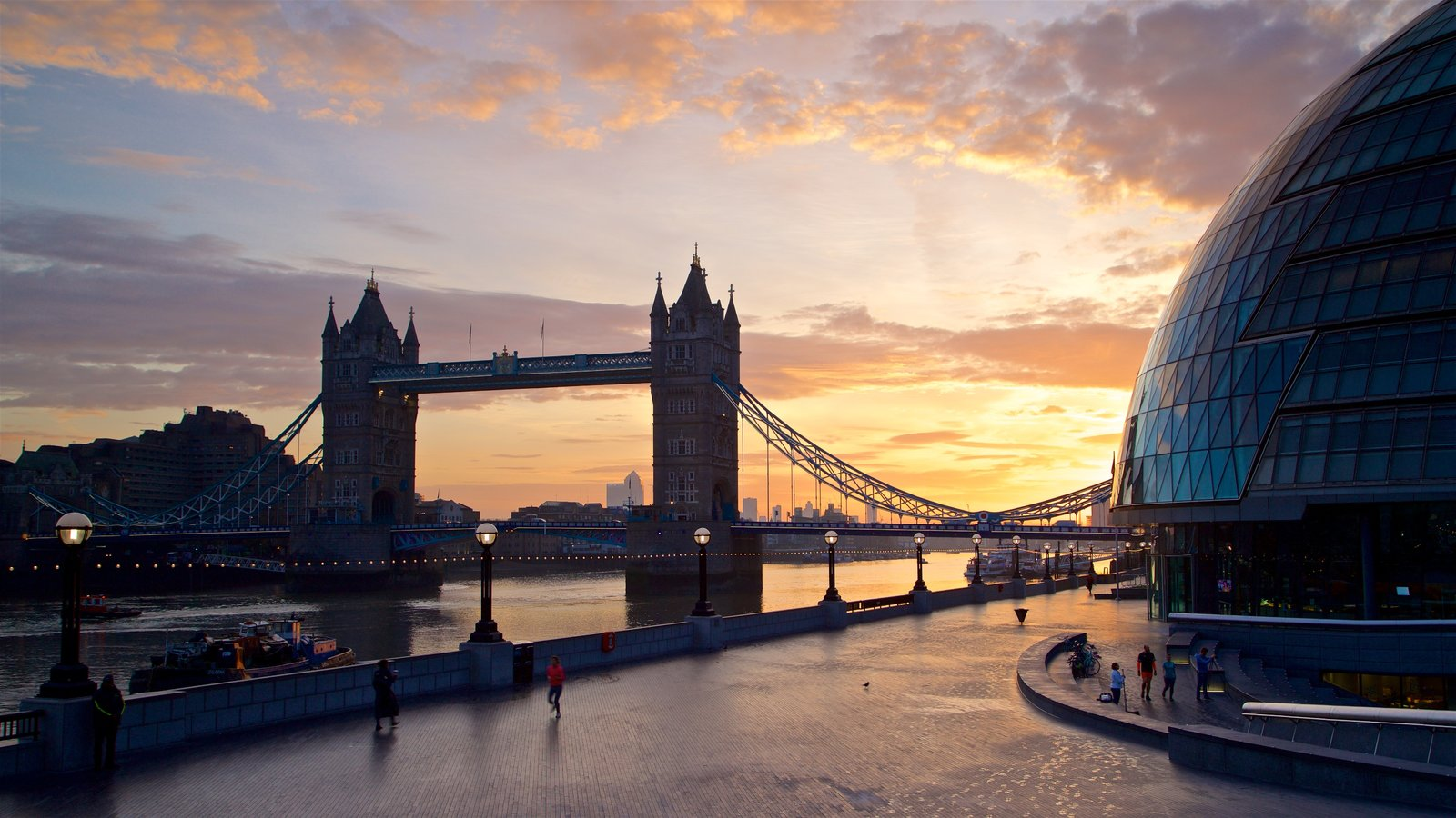 Tower Bridge which includes landscape views, a sunset and a bridge