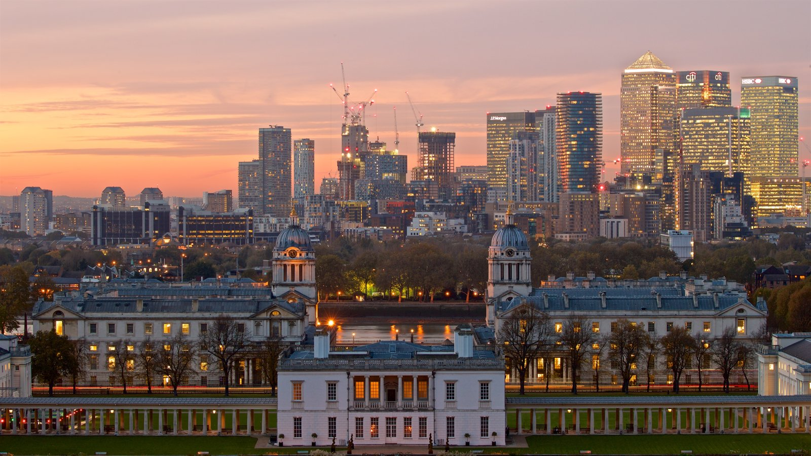 Greenwich Park showing a city, a sunset and landscape views