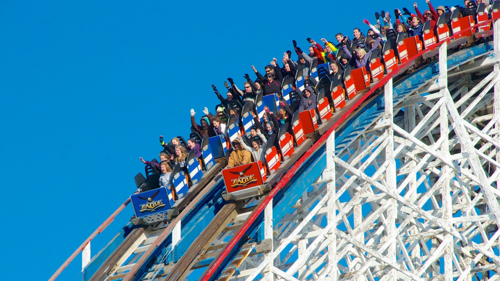 Six Flags Great America which includes rides as well as a large group of people