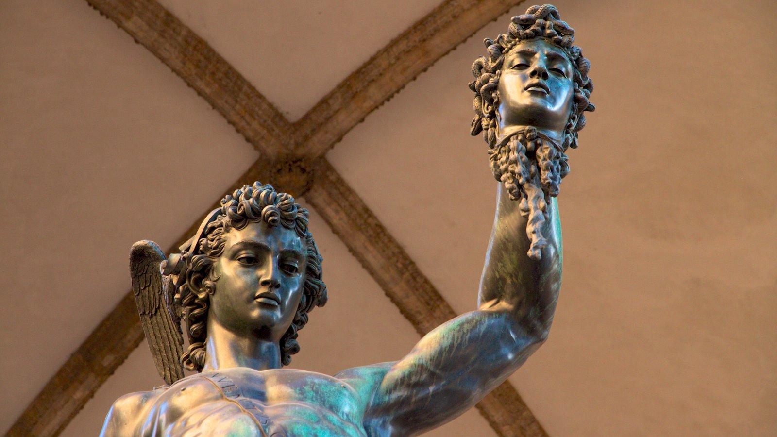 Galleria degli Uffizi mostrando arte, vistas internas e uma estátua ou escultura