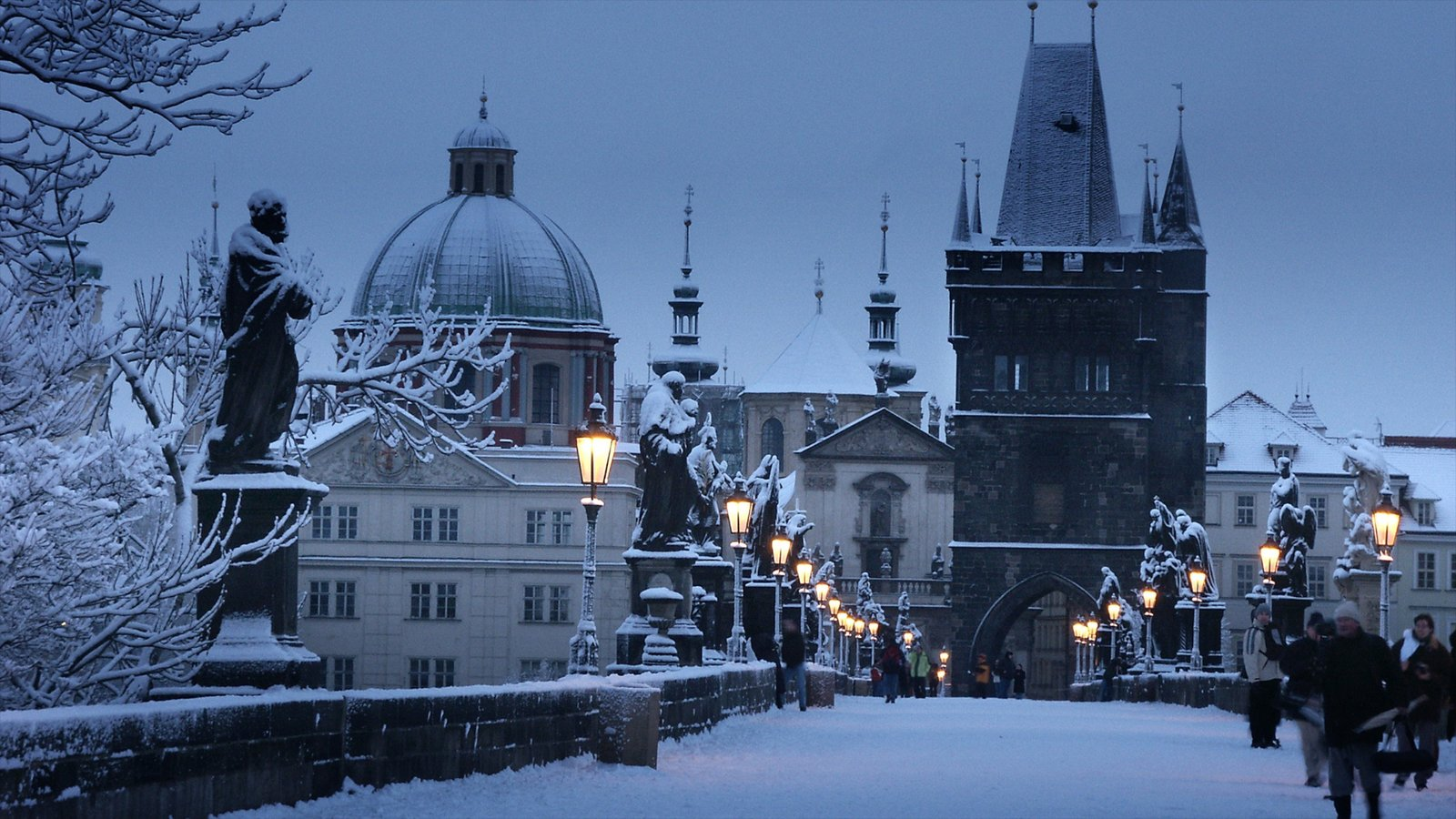 Charles Bridge showing a city, night scenes and art