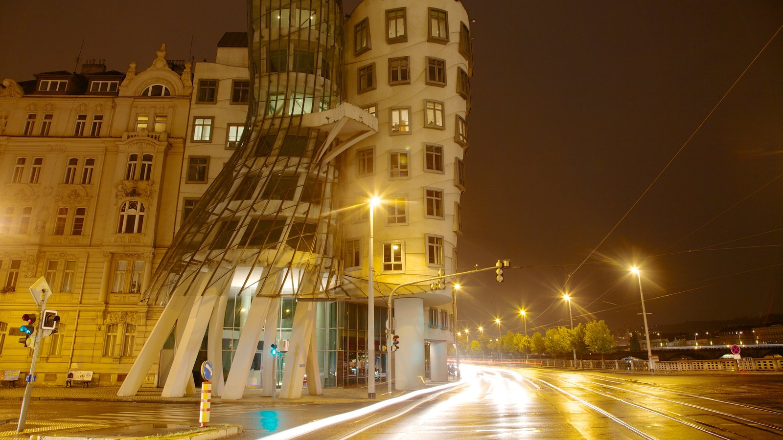 Prague Dancing House showing modern architecture, street scenes and night scenes