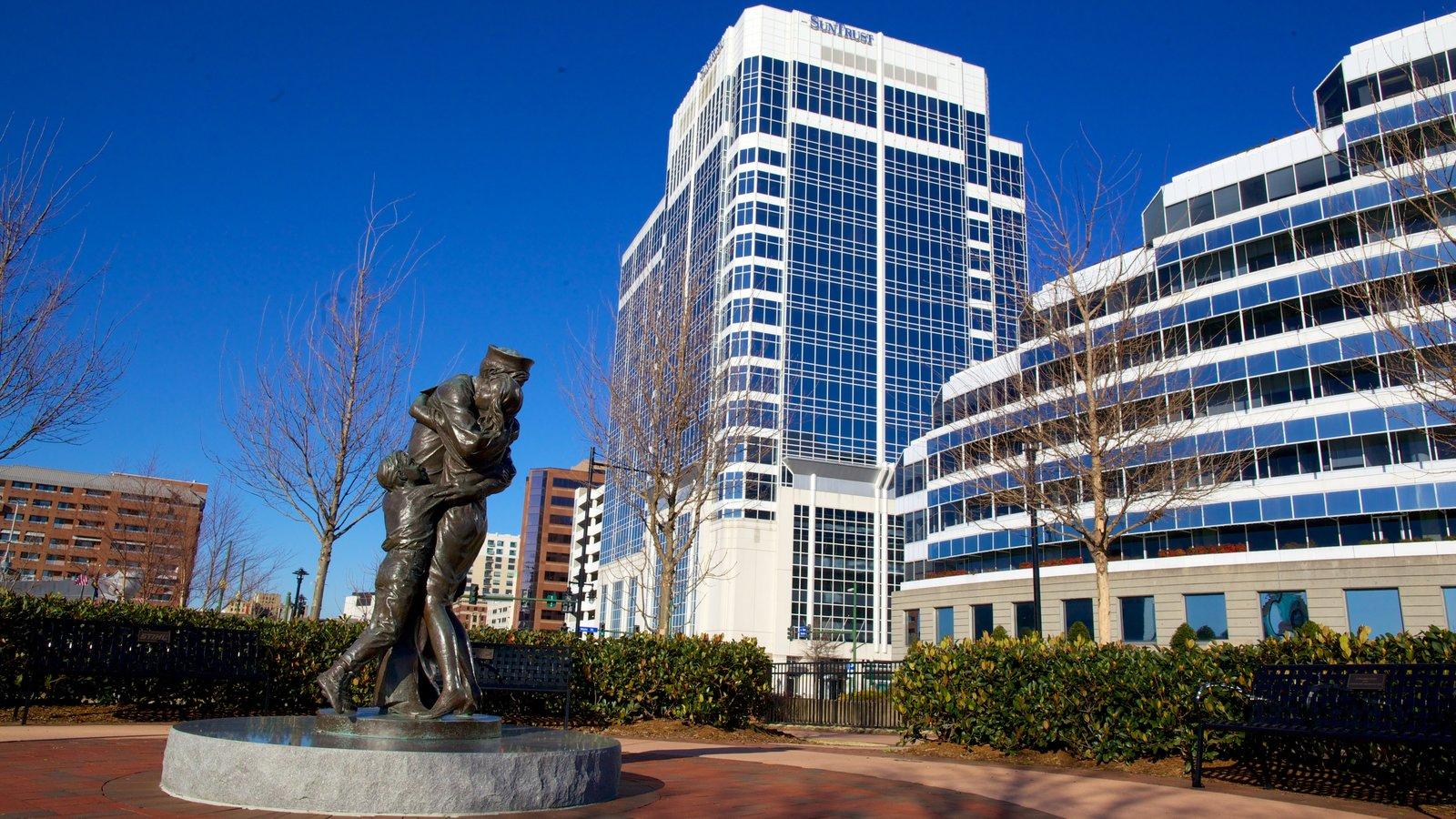 Virgínia caracterizando arquitetura moderna, um jardim e um arranha-céu