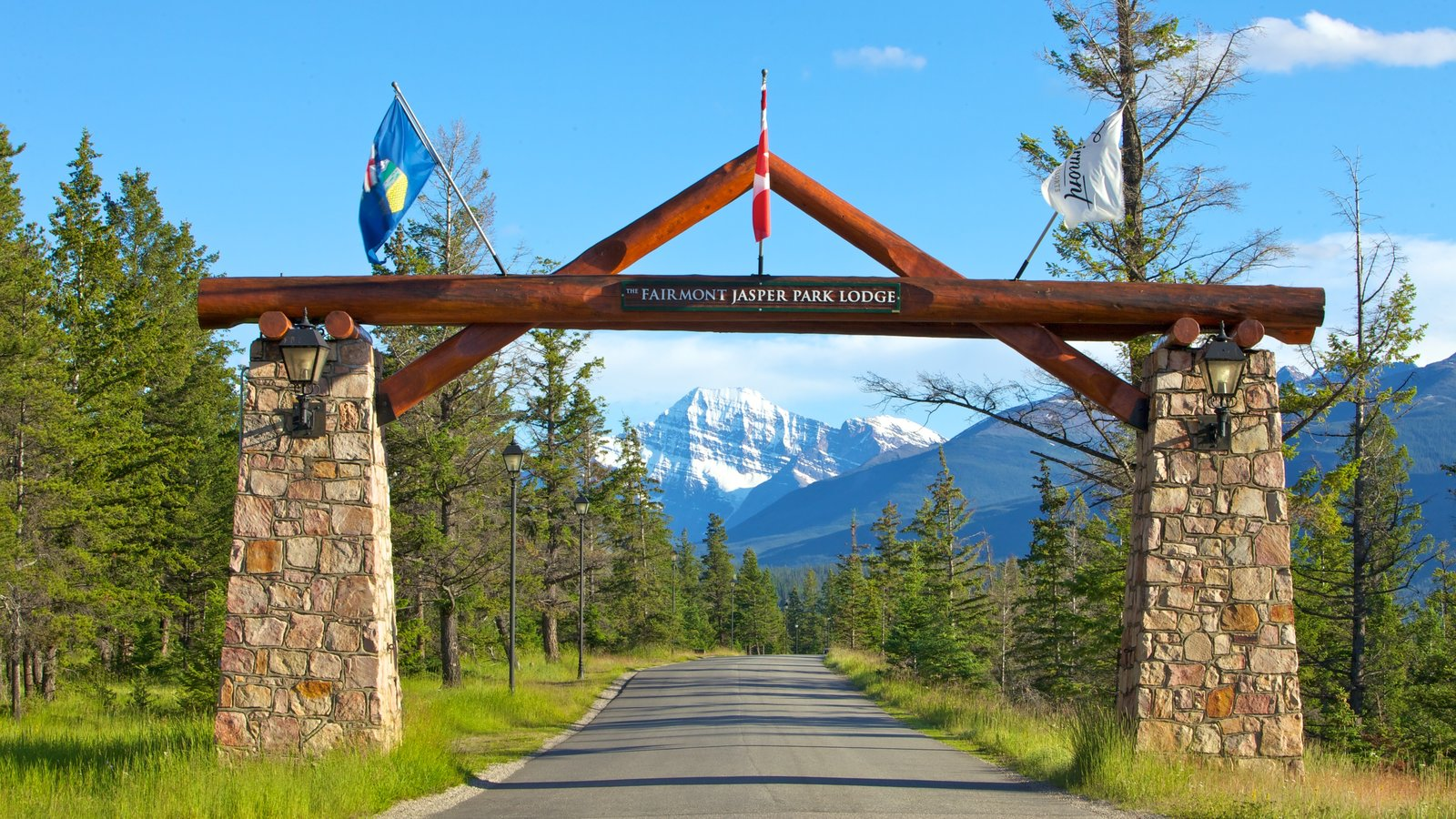 Jasper National Park featuring landscape views, mountains and signage