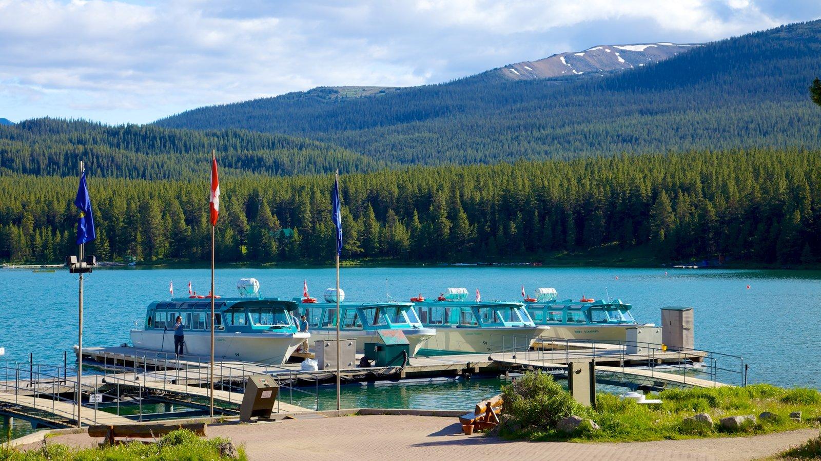 Maligne Lake que incluye un lago o abrevadero, vistas de paisajes y bosques