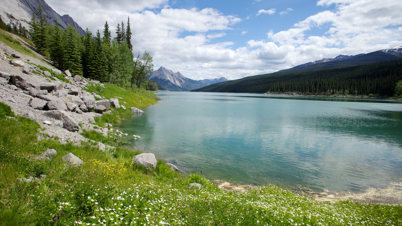 Medicine Lake featuring landscape views, mountains and a lake or waterhole