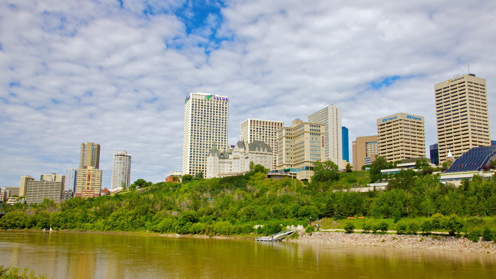 Edmonton featuring a river or creek, a high-rise building and a city