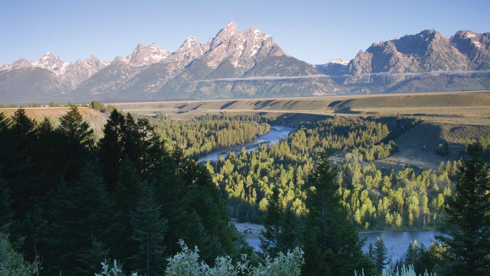 Jackson Hole mostrando paisagem, um rio ou córrego e montanhas
