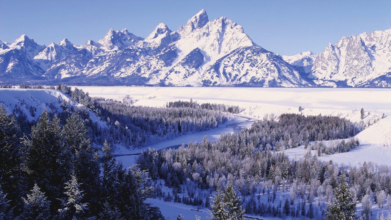 Jackson Hole que incluye montañas, nieve y vistas de paisajes